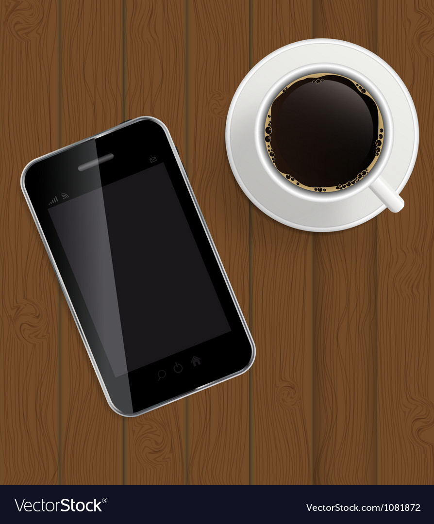 Abstract design phone coffee on boards background vector | Price: 1 Credit (USD $1)
