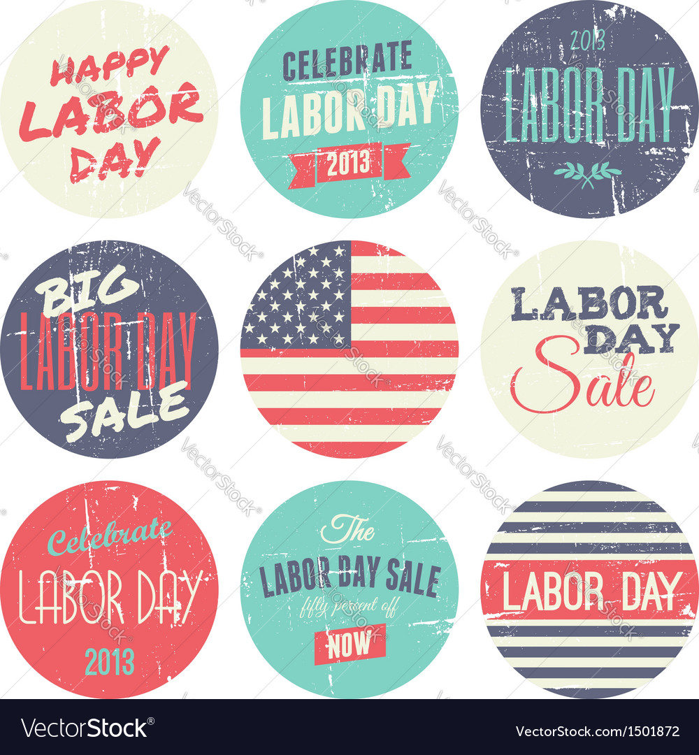 American labor day grunge stickers set vector | Price: 1 Credit (USD $1)