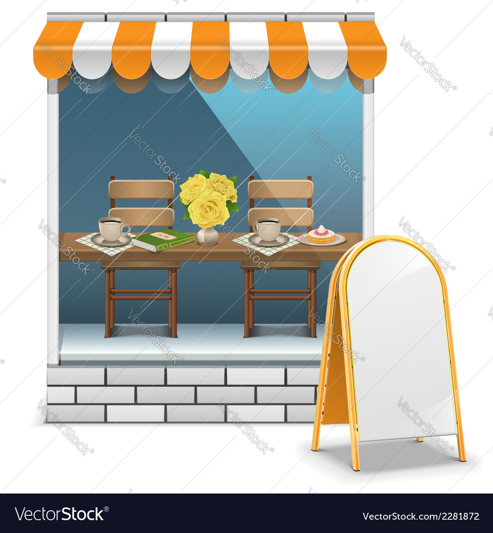 Cafe with billboard vector | Price: 1 Credit (USD $1)