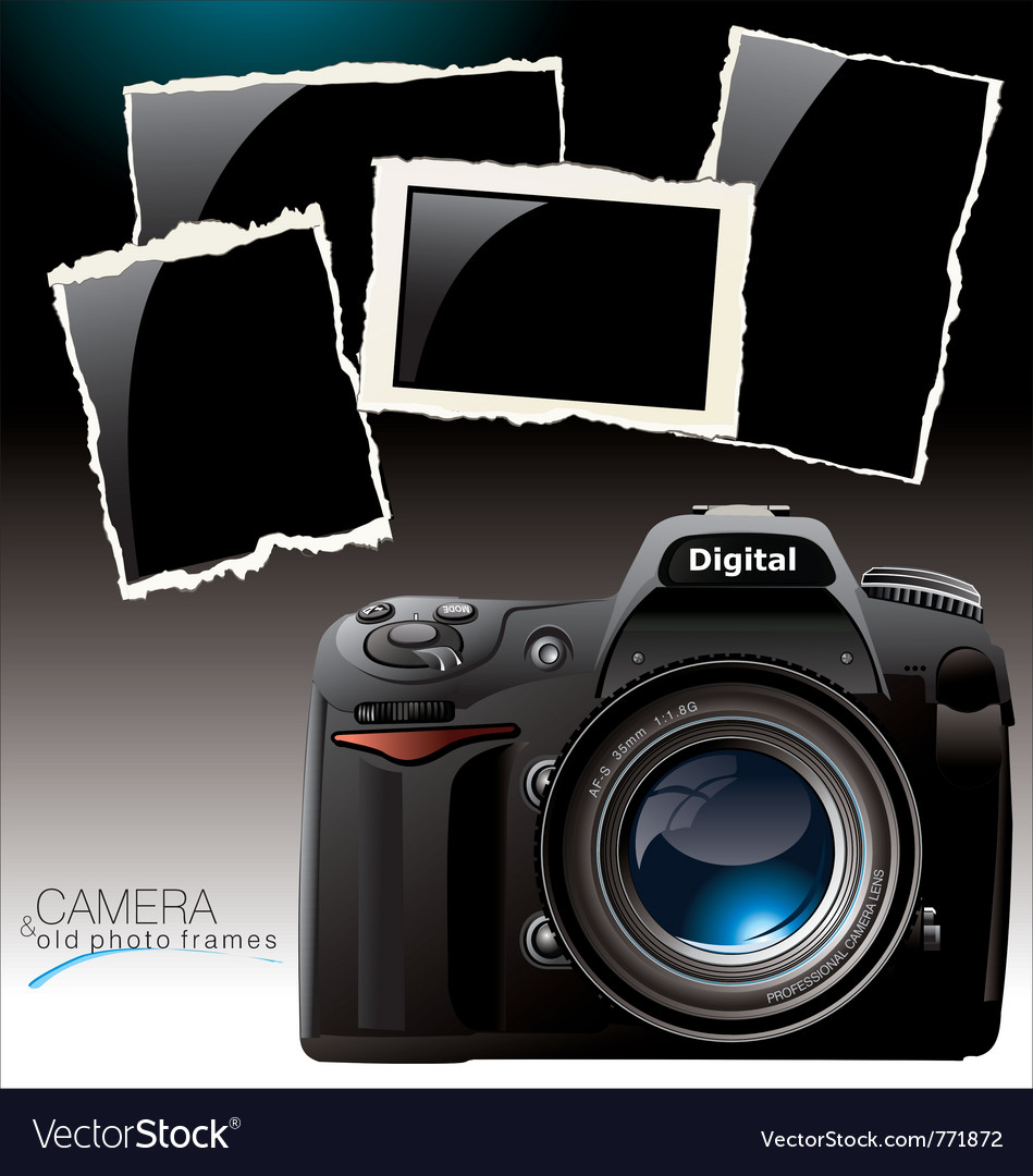 Camera and old photo frames vector | Price: 1 Credit (USD $1)