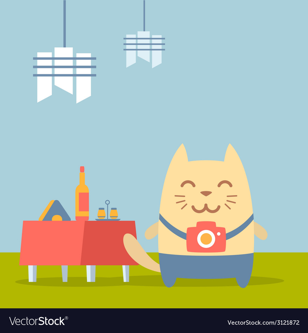 Character photographer with a camera colorful flat vector | Price: 1 Credit (USD $1)