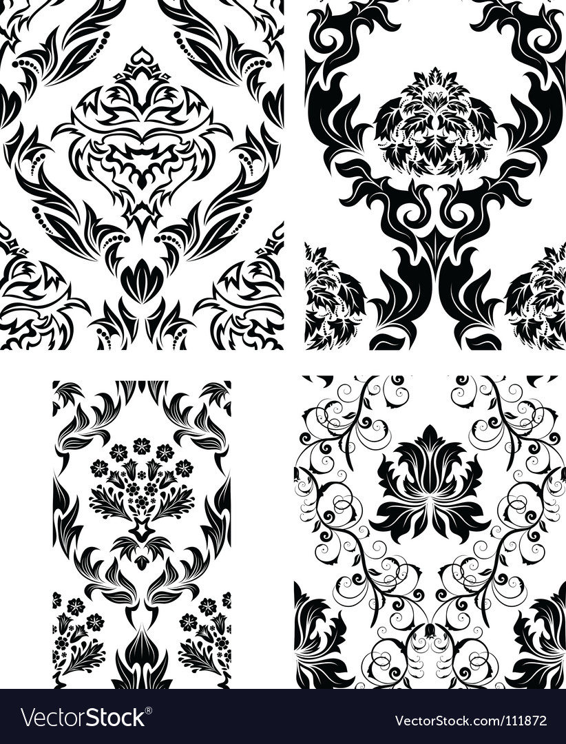 Damask patterns set vector | Price: 1 Credit (USD $1)