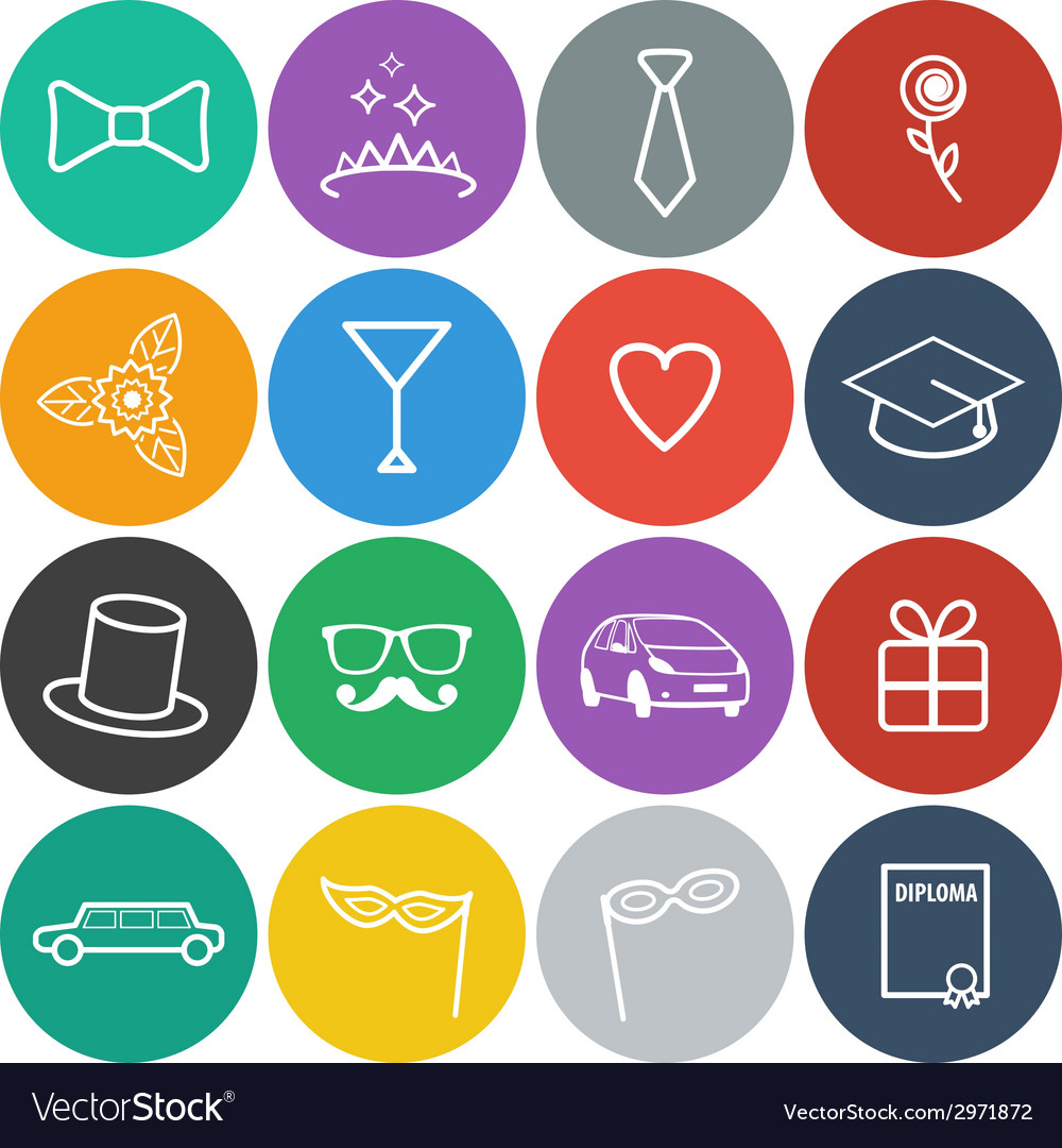 Flat prom icons vector | Price: 1 Credit (USD $1)