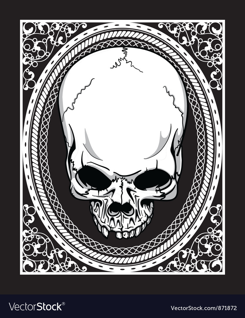 Frame with skull retro t-shirt design vector | Price: 1 Credit (USD $1)