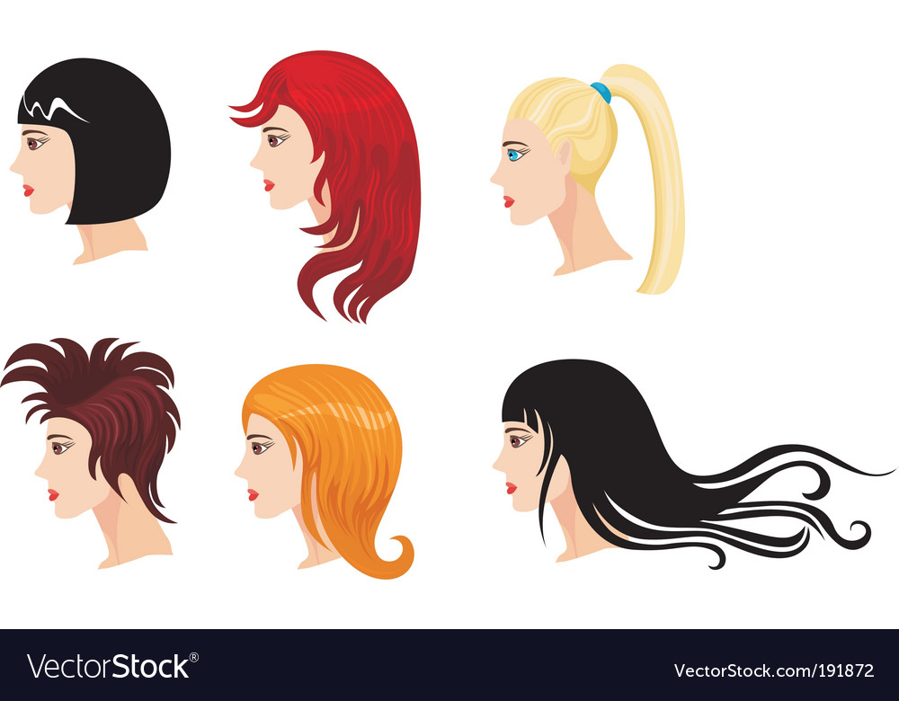 Hairstyle set vector | Price: 3 Credit (USD $3)