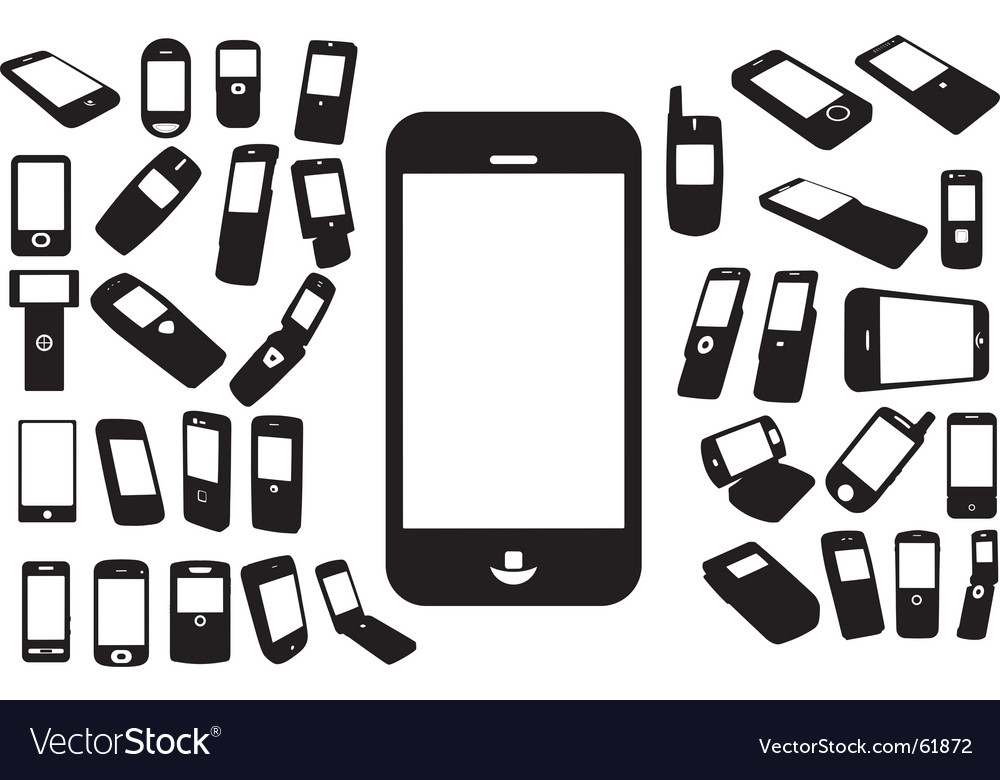 Mobile silhouettes vector | Price: 1 Credit (USD $1)