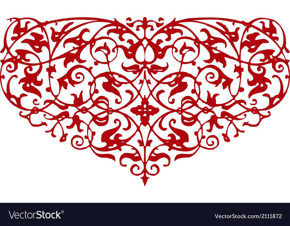 Ornamental heart shape vector | Price: 1 Credit (USD $1)