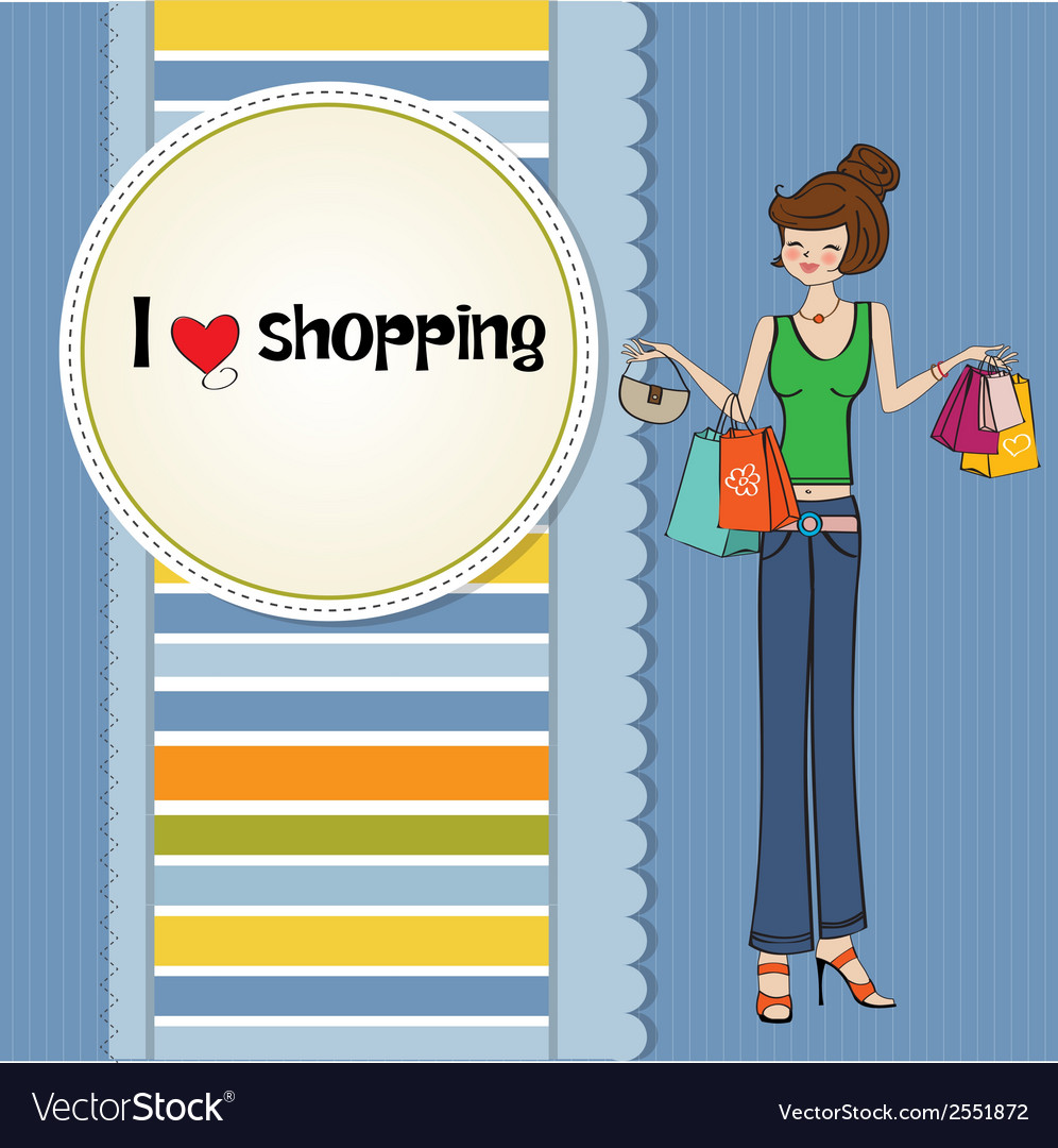 Pretty young lady at shopping vector   Price: 1 Credit (USD $1)