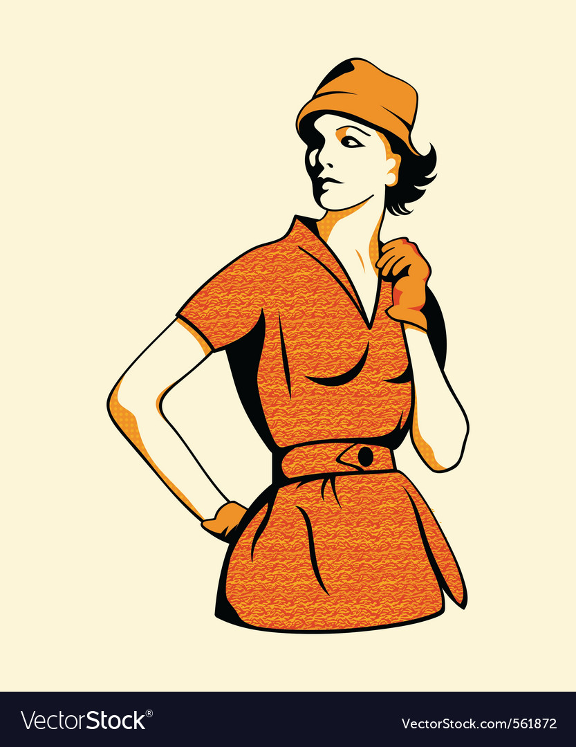 Retro fashion girl vector | Price: 1 Credit (USD $1)