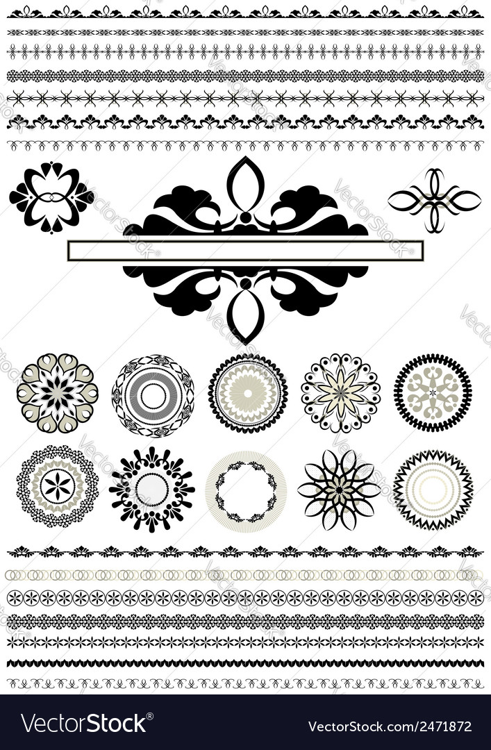 Round ornaments and border vector | Price: 1 Credit (USD $1)