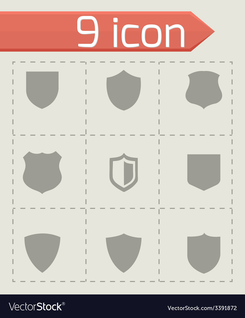 Shield icons set vector | Price: 1 Credit (USD $1)
