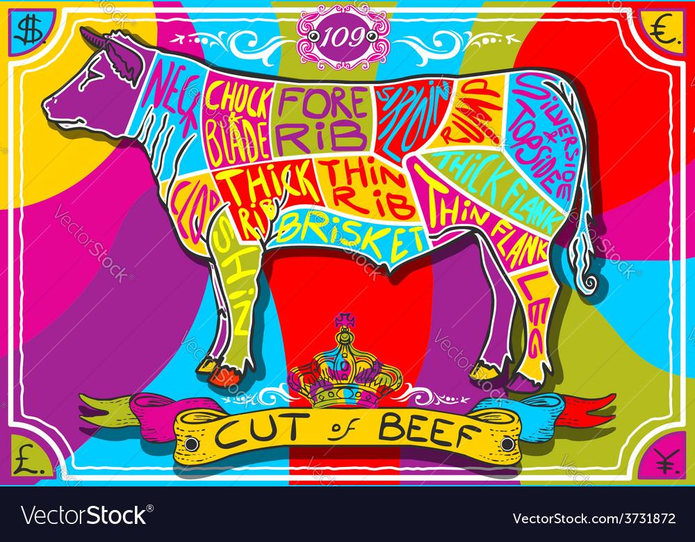 Vintage english cut of beef in happy rainbow vector | Price: 3 Credit (USD $3)