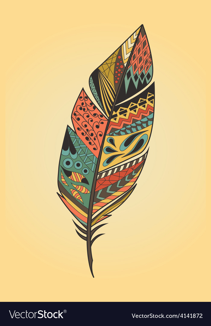 Vintage tribal ethnic hand drawn colorful feather vector   Price: 1 Credit (USD $1)