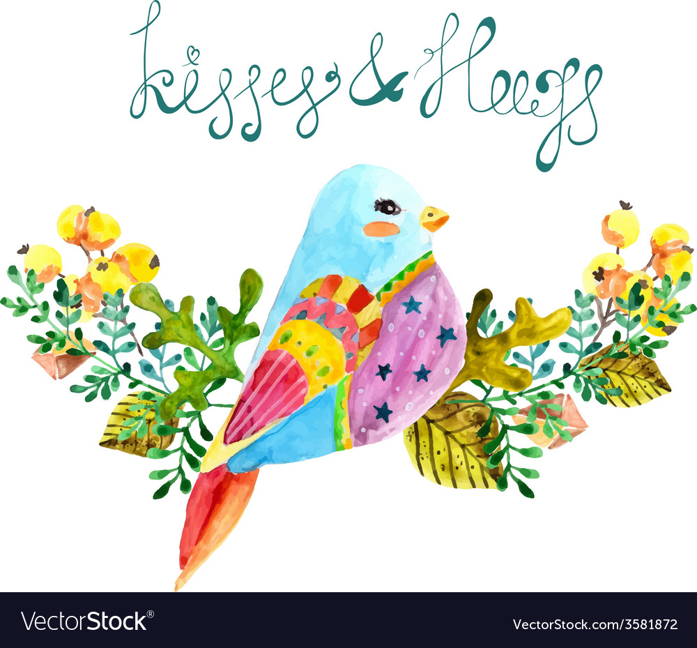 Watercolor beautiful bird and flowers vector | Price: 1 Credit (USD $1)