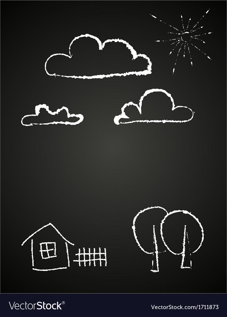 Childrens drawing of clouds in chalk vector | Price: 1 Credit (USD $1)