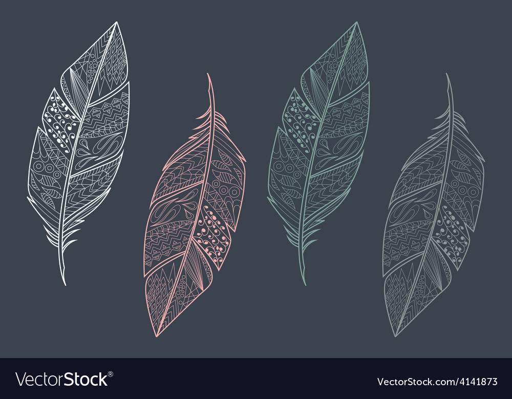 Collection of vintage tribal ethnic feathers vector