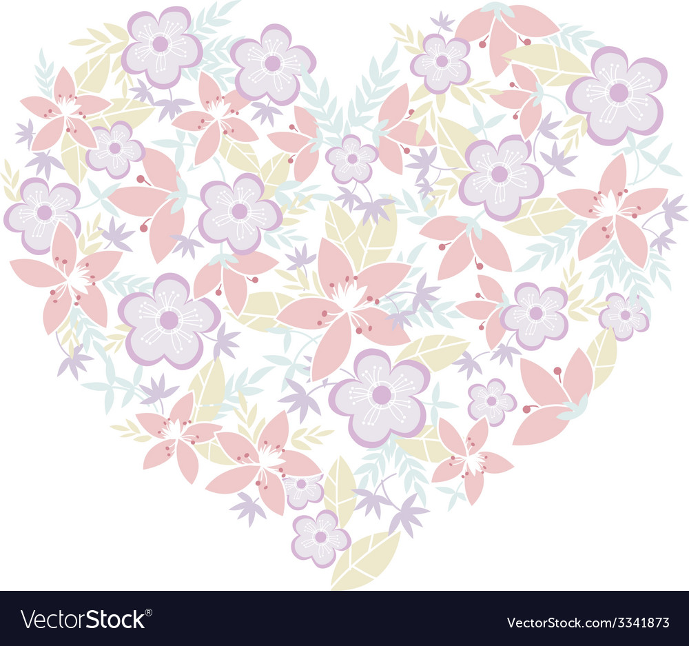Flowers full in heart vector | Price: 1 Credit (USD $1)