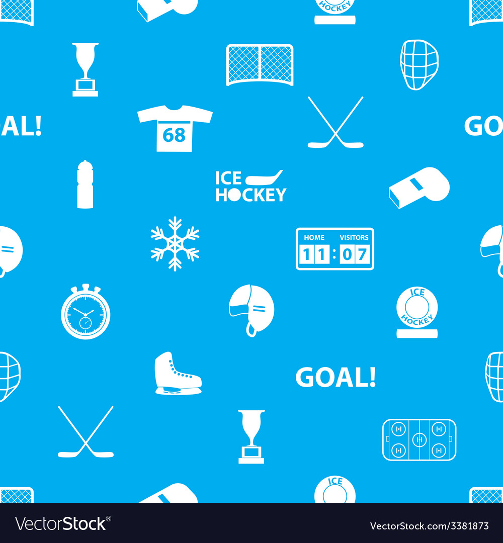 Ice hockey sport icons blue and white seamless vector | Price: 1 Credit (USD $1)
