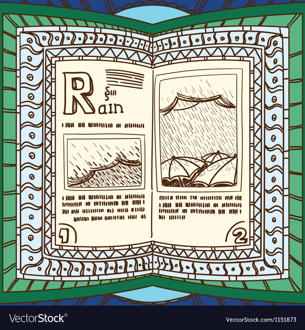 Ornamented magic book with page of rain vector | Price: 1 Credit (USD $1)