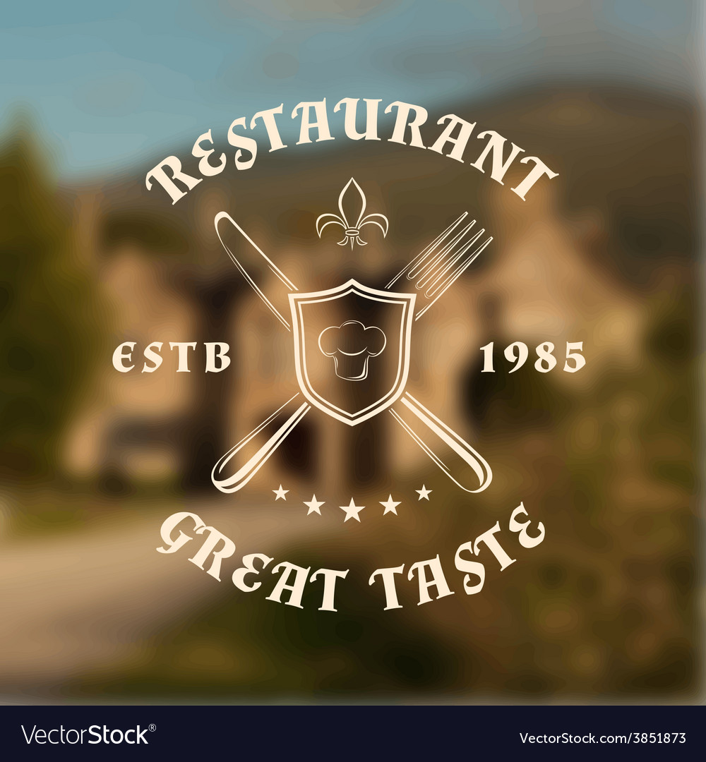 Restaurant logo template with shield knife and vector | Price: 1 Credit (USD $1)