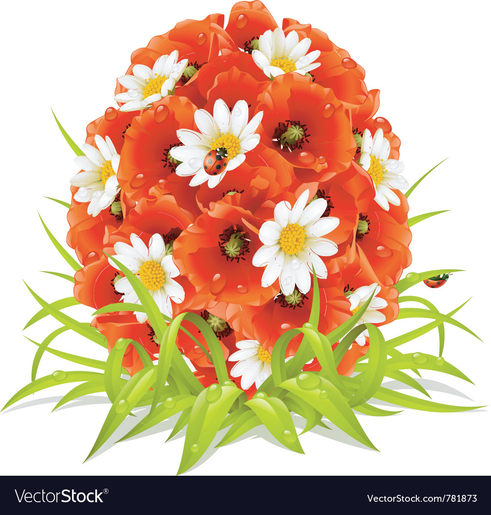 Spring flowers in the shape of easter egg vector   Price: 3 Credit (USD $3)