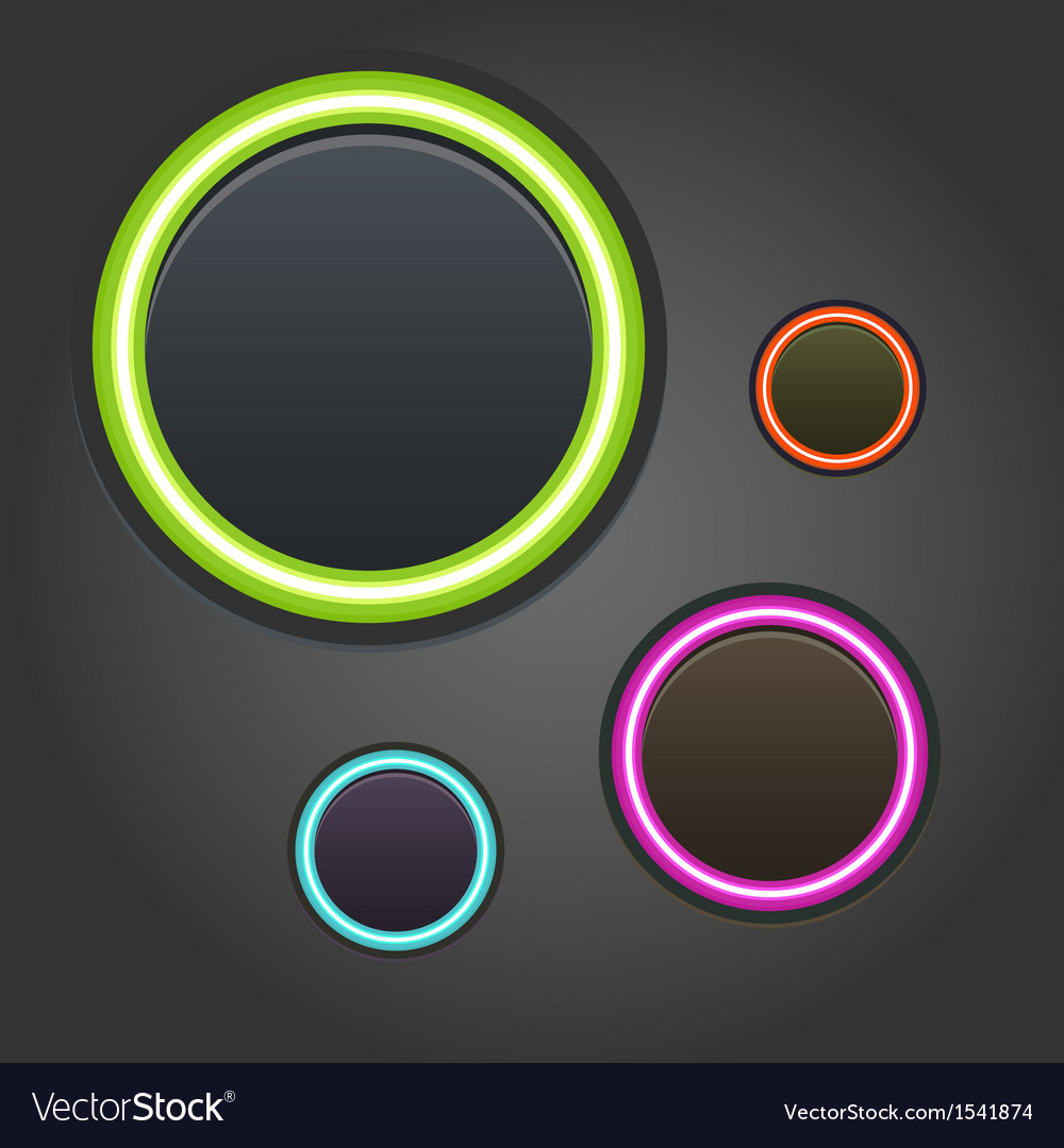Colorful glowing buttons on dark background vector | Price: 1 Credit (USD $1)