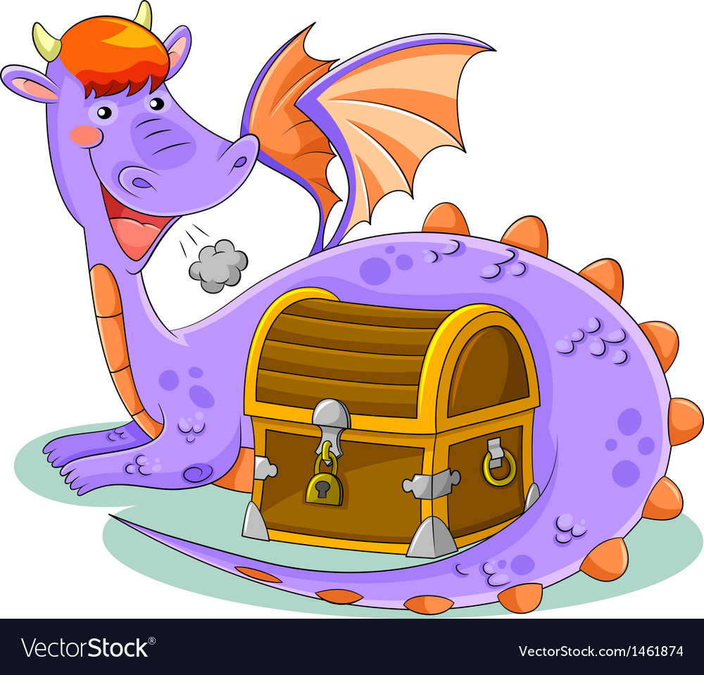 Dragon and treasure vector | Price: 3 Credit (USD $3)