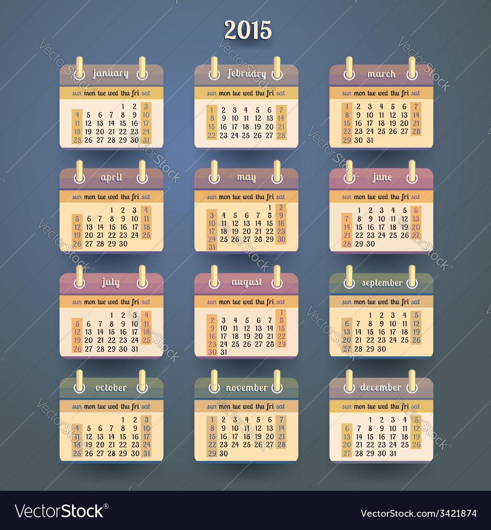 Flat calendar 2015 year design vector | Price: 1 Credit (USD $1)