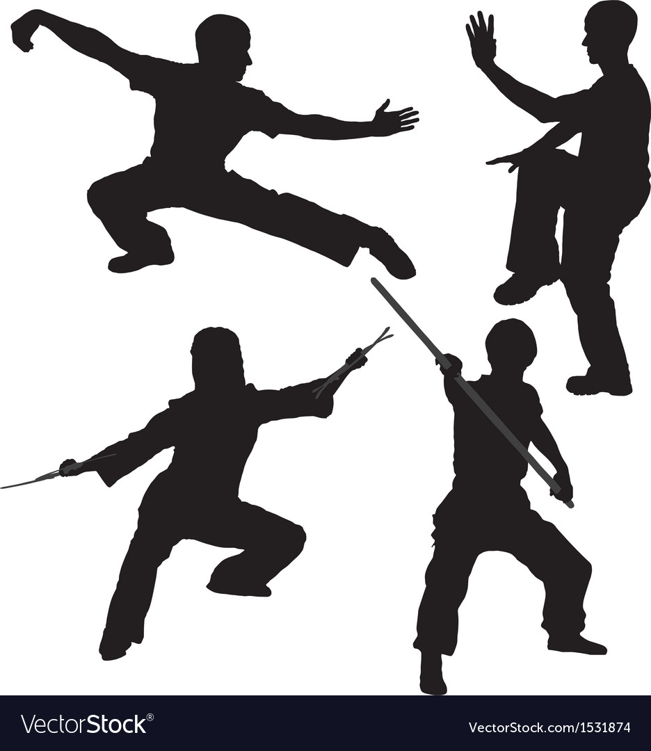 Kung fu fighter silhouette vector | Price: 1 Credit (USD $1)