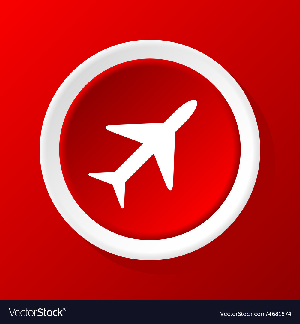 Plane icon on red vector | Price: 1 Credit (USD $1)