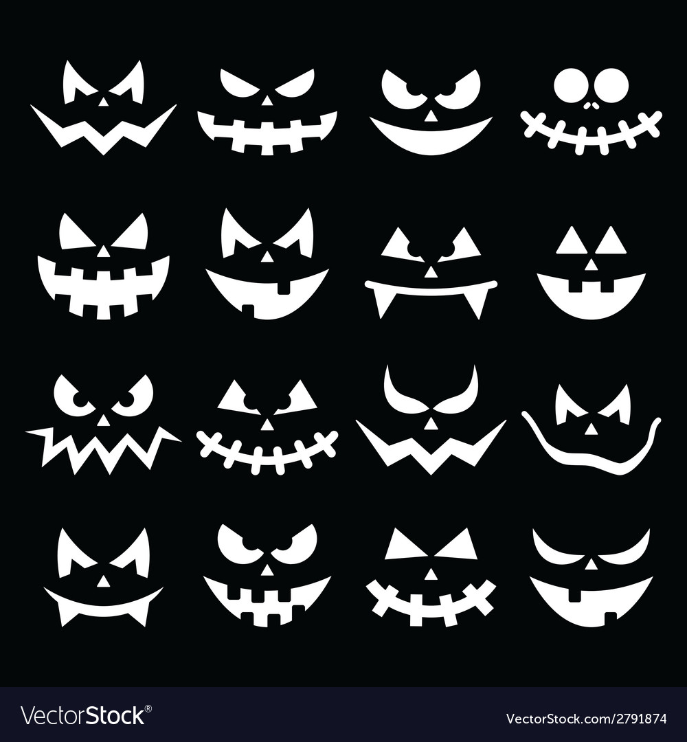 Scary halloween pumpkin faces icons set vector | Price: 1 Credit (USD $1)