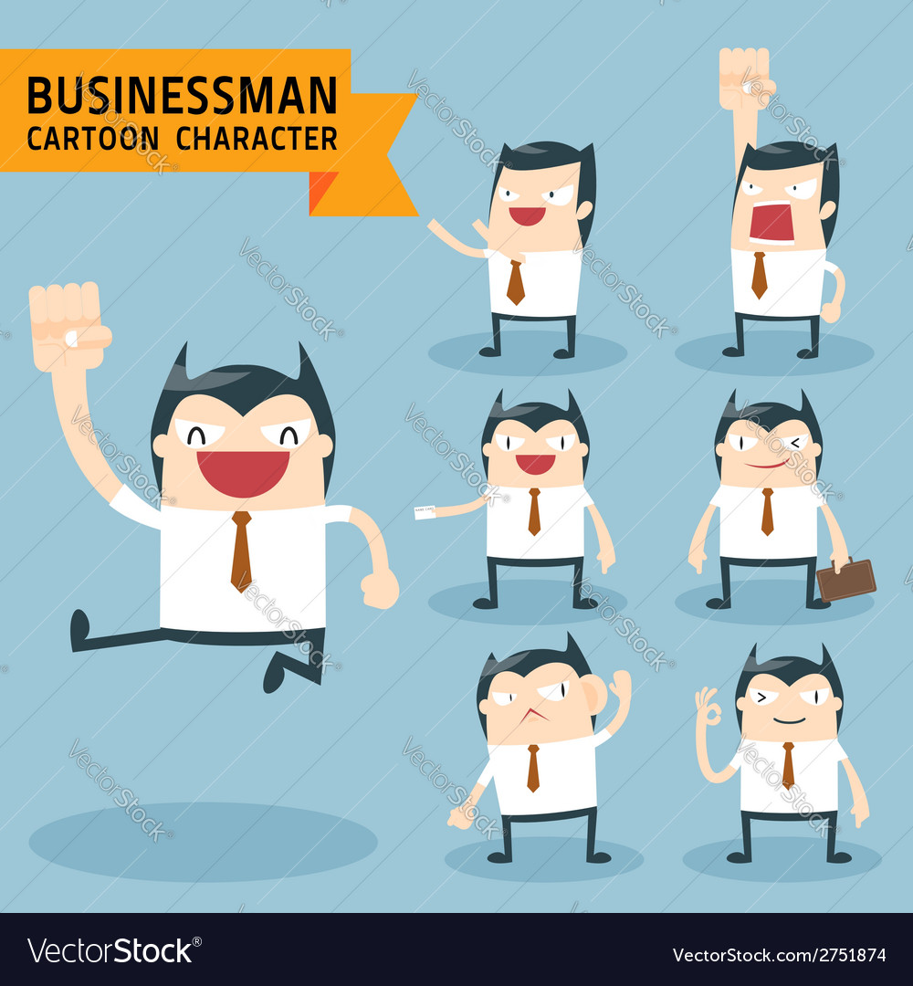 Set of businessman characters poses vector   Price: 1 Credit (USD $1)