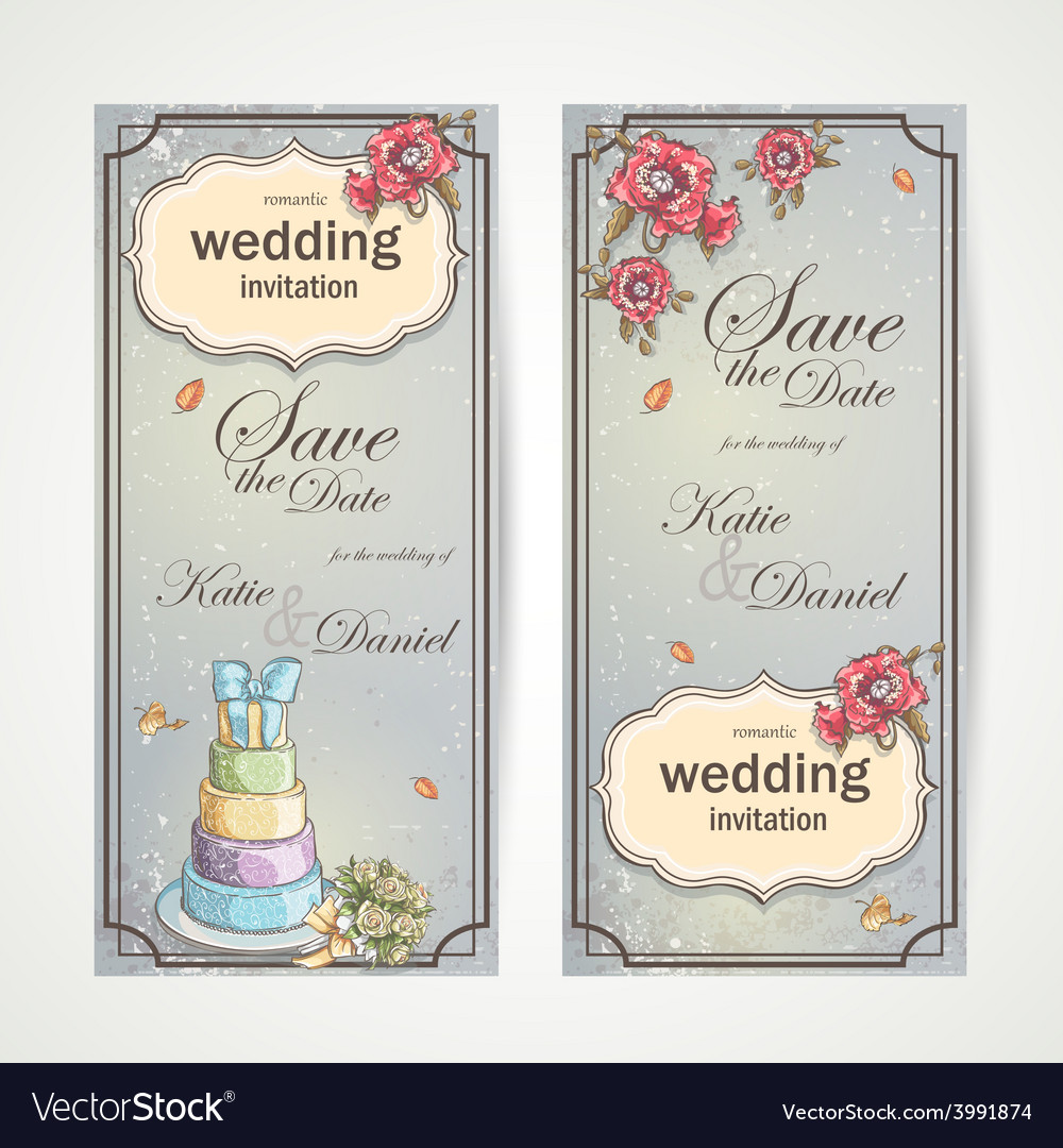 Set of vertical banners wedding invitations with vector | Price: 1 Credit (USD $1)