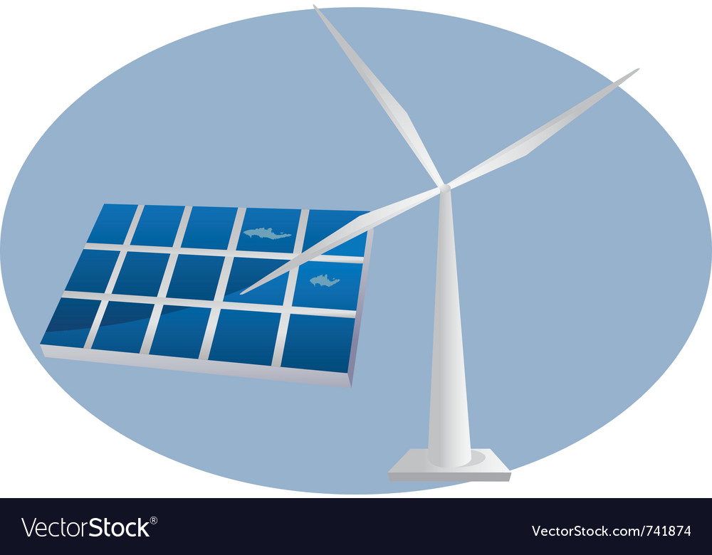 Solar panel wind turbine vector | Price: 1 Credit (USD $1)