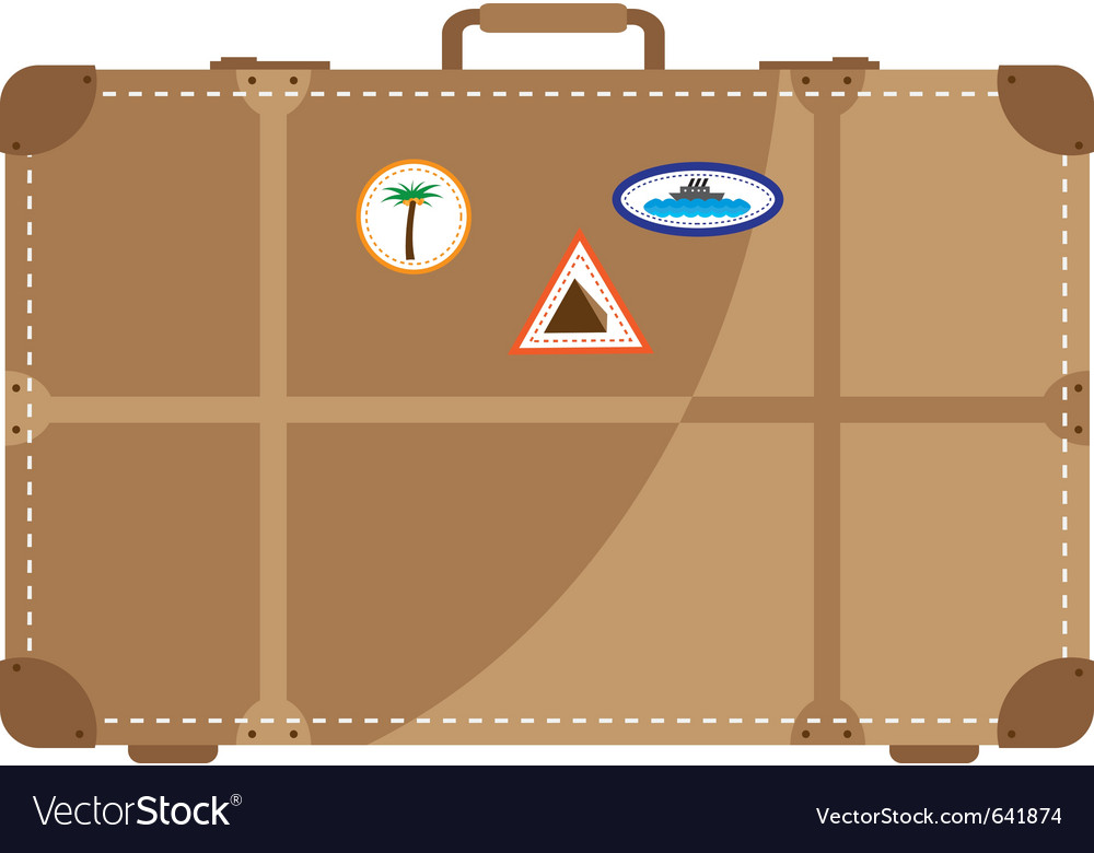 Suitcase with stickers from the trip vector | Price: 1 Credit (USD $1)