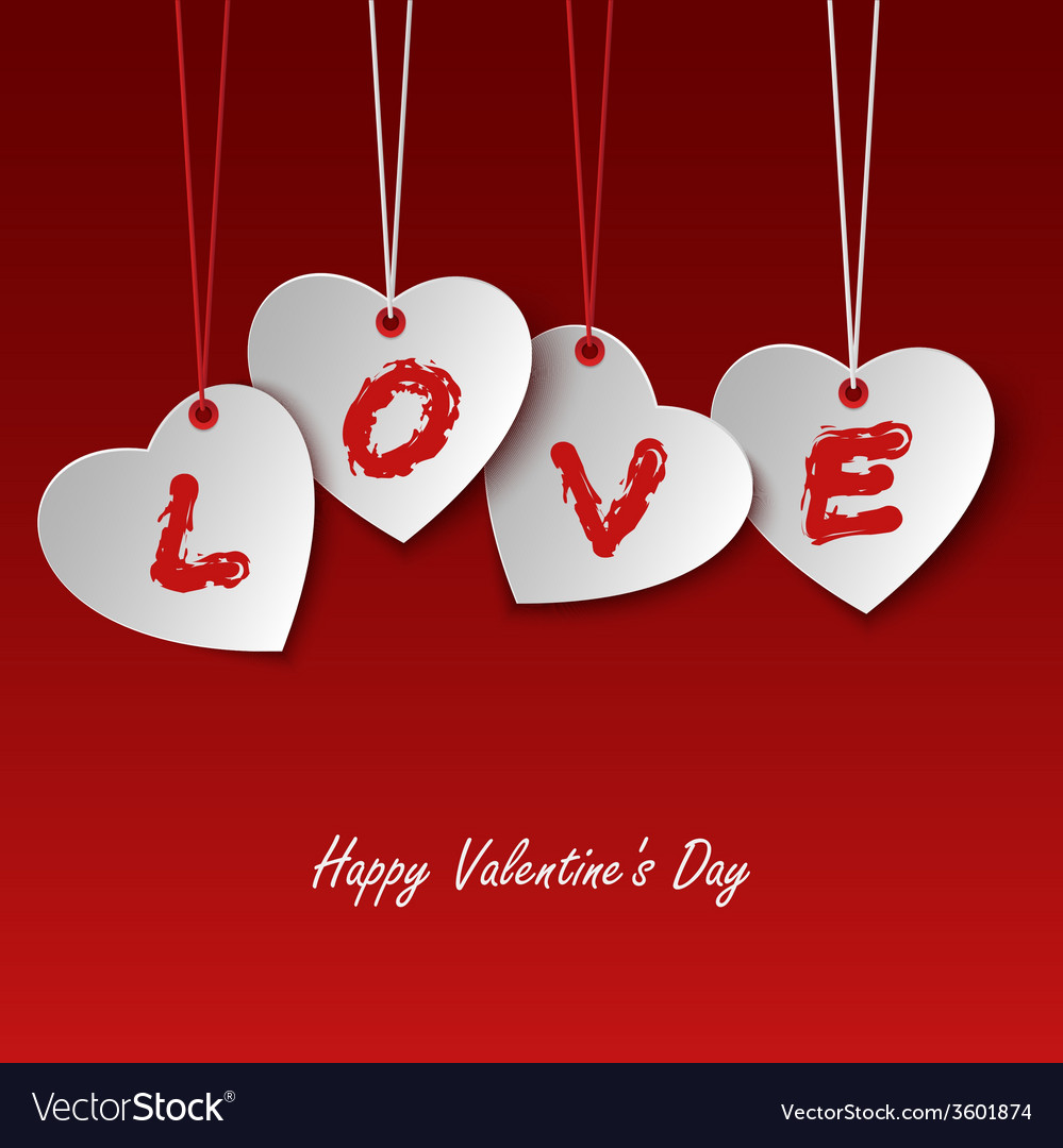 Valentines card with hearts and the word love vector   Price: 1 Credit (USD $1)