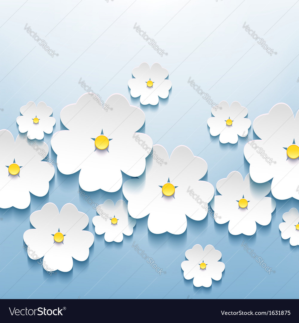 Abstract floral background with 3d sakura vector | Price: 1 Credit (USD $1)