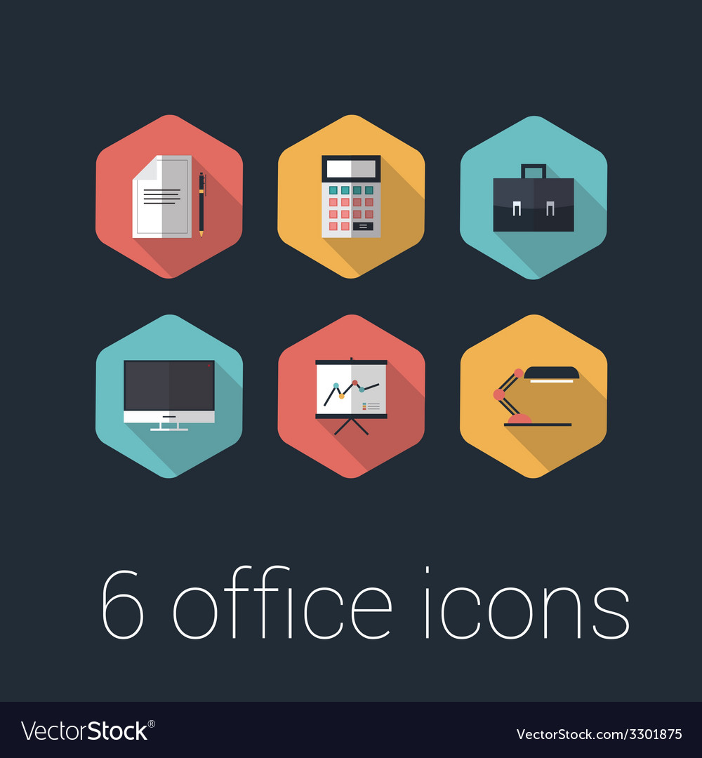 Colorful business and office flat design icons set vector | Price: 1 Credit (USD $1)