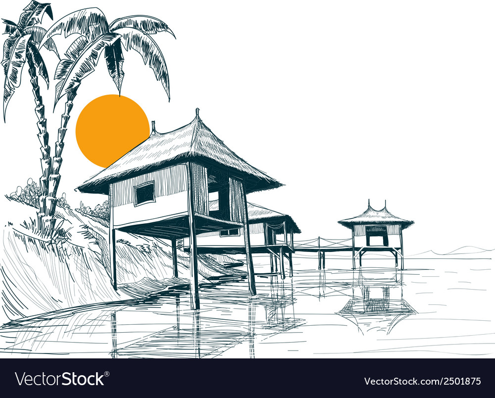 House built on water or water bungalows sketch vector | Price: 1 Credit (USD $1)