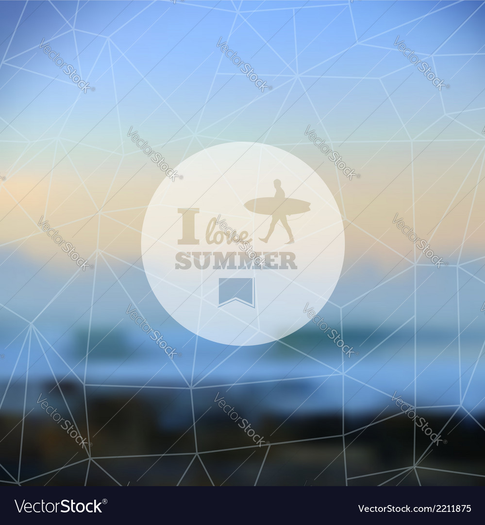 I love summer hipster blurred background vector | Price: 1 Credit (USD $1)