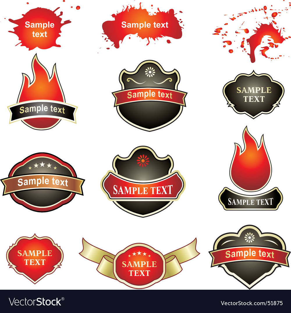 Labels flames splatters vector | Price: 1 Credit (USD $1)