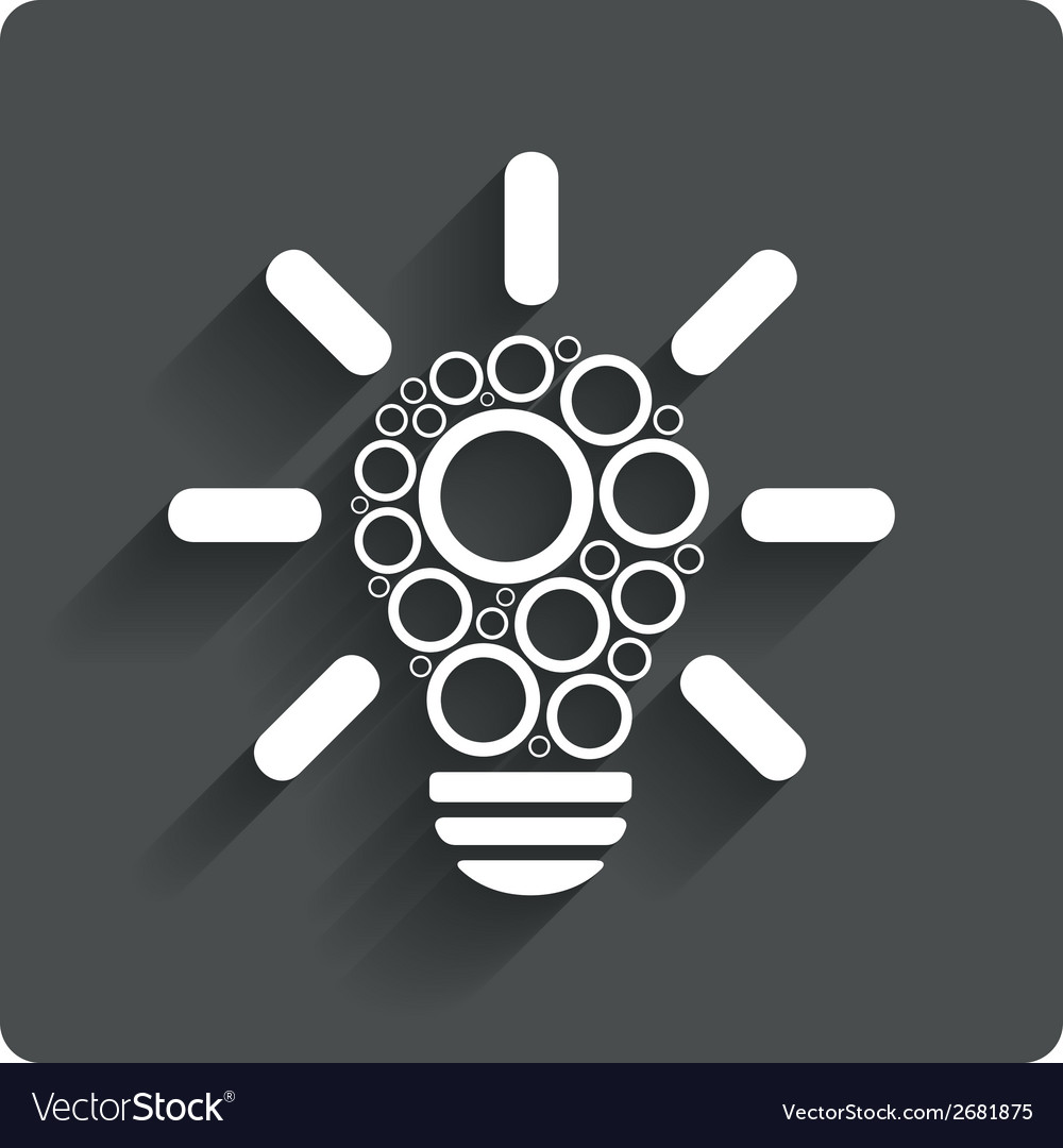 Light lamp sign icon bulb with circles symbol vector | Price: 1 Credit (USD $1)