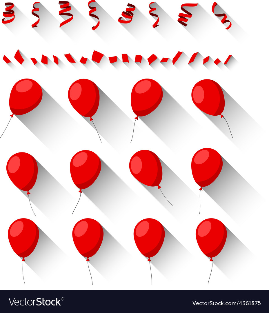 Set of flat celebration balloons vector | Price: 1 Credit (USD $1)