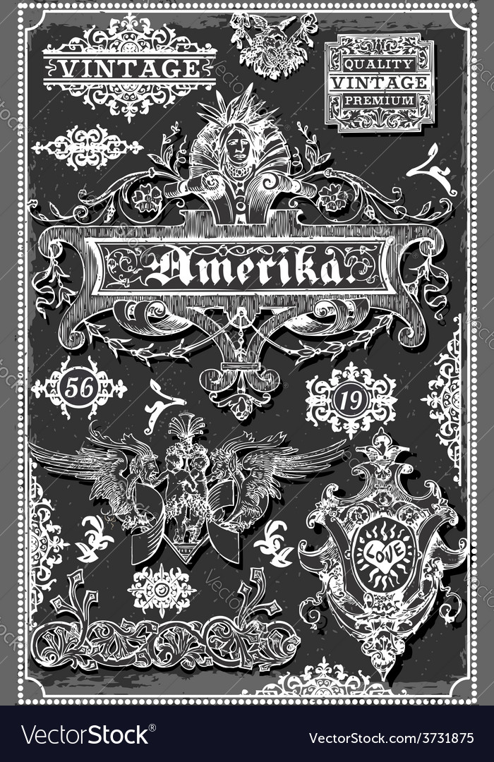 Vintage hand drawn american banners and labels on vector | Price: 3 Credit (USD $3)