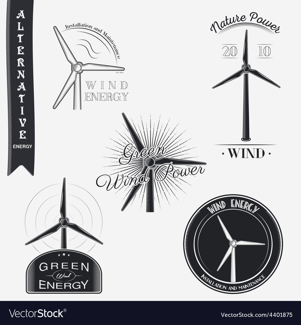 Wind turbine alternative eco energy set of vector | Price: 1 Credit (USD $1)