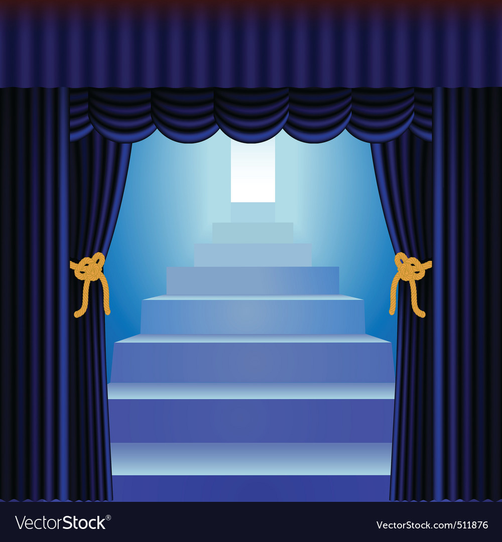 Blue curtains with staircase vector | Price: 1 Credit (USD $1)