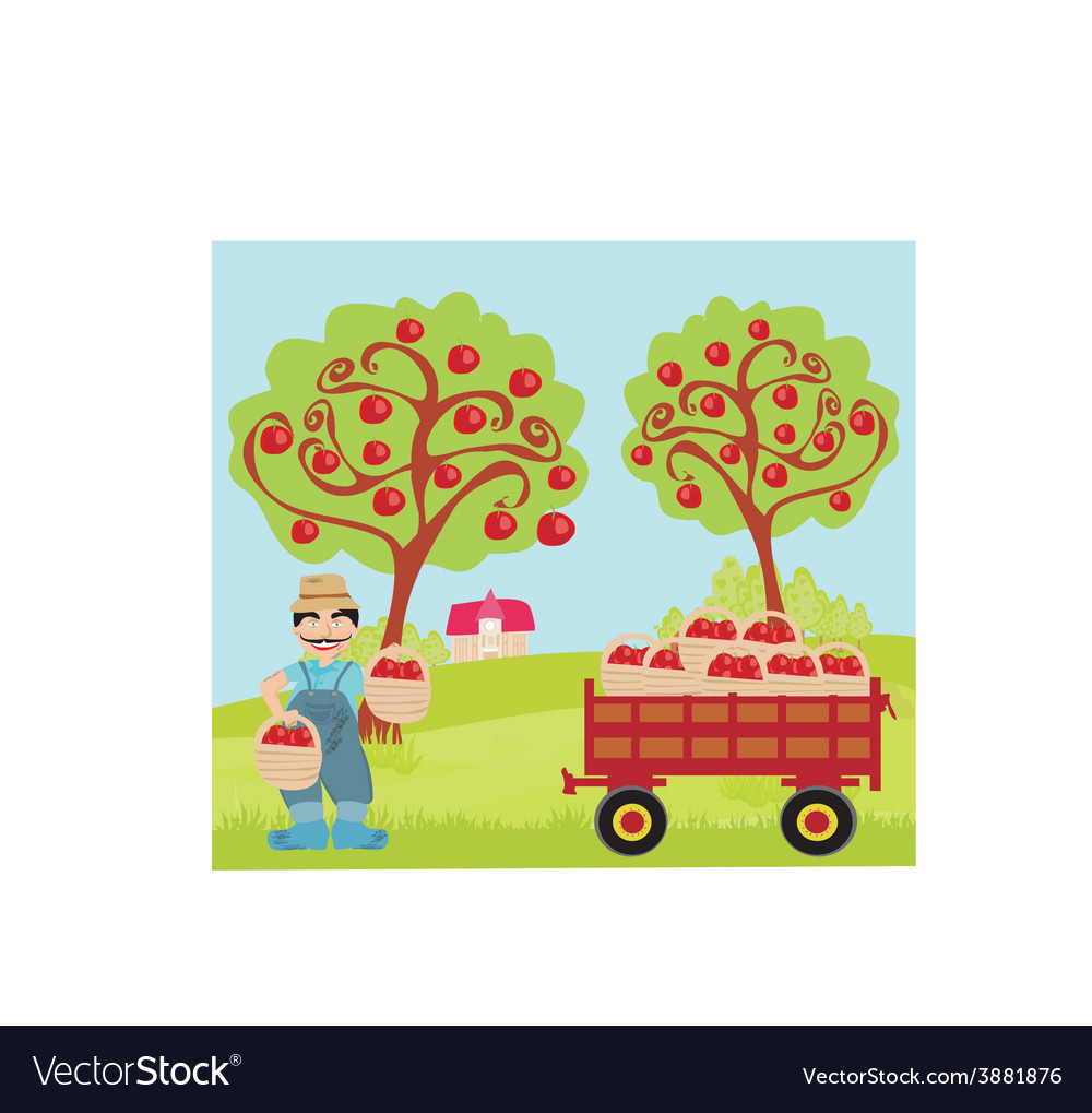 Farmer in the orchard vector | Price: 1 Credit (USD $1)