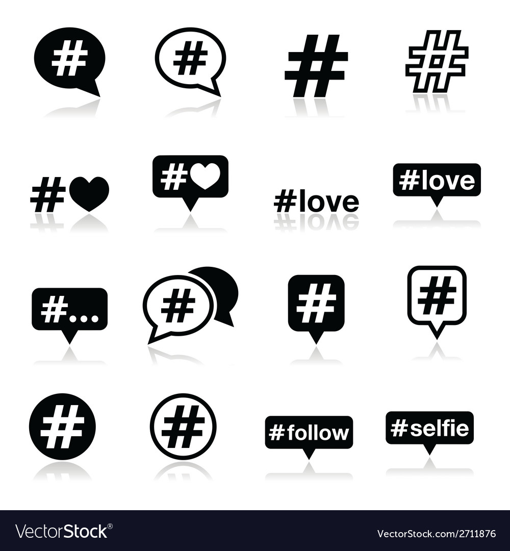 Hashtag social media icons set vector | Price: 1 Credit (USD $1)