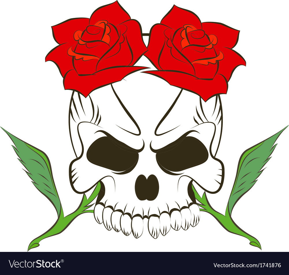 Pirate skull and two roses vector | Price: 1 Credit (USD $1)