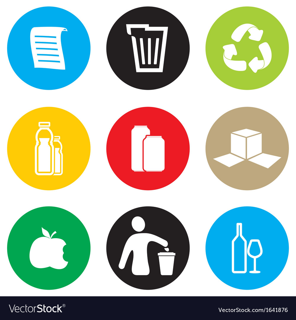 Recycling icon set vector | Price: 1 Credit (USD $1)